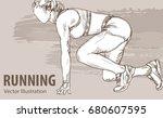 hand sketch of a woman runner...   Shutterstock .eps vector #680607595