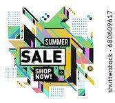 summer sale geometric style web ... | Shutterstock .eps vector #680609617