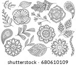 vector black and white doodle... | Shutterstock .eps vector #680610109