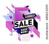 summer sale geometric style web ...   Shutterstock .eps vector #680611045