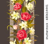 seamless pattern with roses and ... | Shutterstock .eps vector #680614441