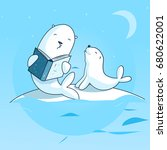 mother seal reading a book to... | Shutterstock .eps vector #680622001