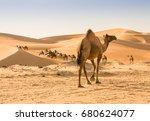 camel in liwa desert | Shutterstock . vector #680624077