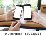 close up hand's two young asian ... | Shutterstock . vector #680630395
