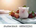 strawberry yogurt with fresh... | Shutterstock . vector #680632261