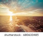 Aerial View Of Beautiful Sunse...