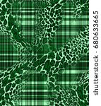 plaid pattern with leopard...   Shutterstock . vector #680633665