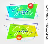 trendy retro summer sale... | Shutterstock .eps vector #680634691