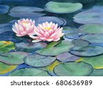 pink water lilies with colorful ... | Shutterstock . vector #680636989