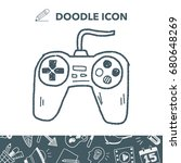 game controller doodle | Shutterstock .eps vector #680648269