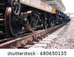 wheel train on railroad tracks... | Shutterstock . vector #680650135
