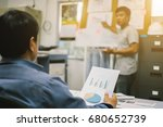 the lecturer listens to the... | Shutterstock . vector #680652739