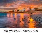 natural gas storage tanks   oil ... | Shutterstock . vector #680662465