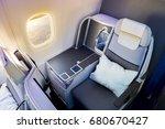 business class airplane... | Shutterstock . vector #680670427
