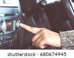woman hand turn on the radio ... | Shutterstock . vector #680674945