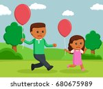 african dad and daughter... | Shutterstock .eps vector #680675989