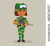 african army woman with rifle | Shutterstock .eps vector #680676037
