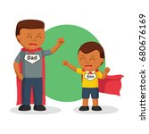 african dad and son playing... | Shutterstock .eps vector #680676169