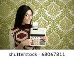 retro accountant woman... | Shutterstock . vector #68067811