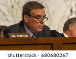 Small photo of Senator Mark Warner Vice Chairman of the Senate Intelligence Committee questions US. Attorney General Jeff Sessions at the Senate Intelligence Committee hearings, Washington DC, June 13, 2017.