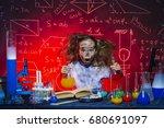 funny little girl doing... | Shutterstock . vector #680691097