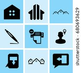 set of 9 mixed icons such as... | Shutterstock .eps vector #680693629