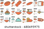 junk food vector line icon set... | Shutterstock .eps vector #680695975
