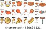 junk food vector line icon set... | Shutterstock .eps vector #680696131