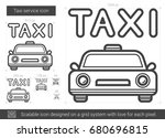 taxi service vector line icon... | Shutterstock .eps vector #680696815