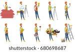 young indian builder set.... | Shutterstock .eps vector #680698687