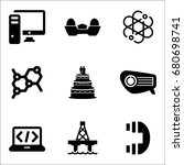 set of 9 miscellaneous icons... | Shutterstock .eps vector #680698741