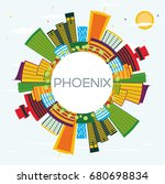 phoenix skyline with color...   Shutterstock . vector #680698834