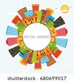rio de janeiro skyline with... | Shutterstock . vector #680699017