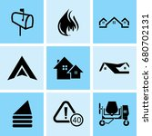 set of 9 mixed icons such as... | Shutterstock .eps vector #680702131