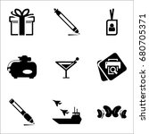 set of 9 miscellaneous icons... | Shutterstock .eps vector #680705371