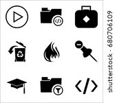 set of 9 miscellaneous icons... | Shutterstock .eps vector #680706109