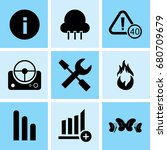 set of 9 mixed icons such as... | Shutterstock .eps vector #680709679