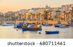 marine with boats in fishing... | Shutterstock . vector #680711461