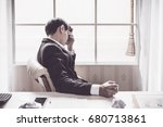 a stressed out business man... | Shutterstock . vector #680713861