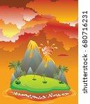 illustration of cartoon volcano ... | Shutterstock .eps vector #680716231