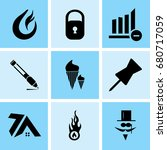 set of 9 mixed icons such as... | Shutterstock .eps vector #680717059