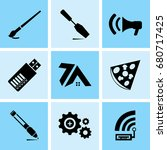 set of 9 mixed icons such as... | Shutterstock .eps vector #680717425