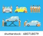 set auto mechanics in repair... | Shutterstock .eps vector #680718079