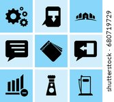 set of 9 mixed icons such as... | Shutterstock .eps vector #680719729