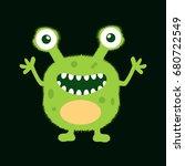 cute monster fluffy illustration | Shutterstock .eps vector #680722549