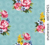 seamless floral pattern with... | Shutterstock .eps vector #680724421