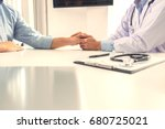 close up of doctor touching... | Shutterstock . vector #680725021