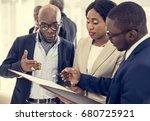 diverse people deal teamwork... | Shutterstock . vector #680725921
