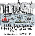 illustration of hong kong... | Shutterstock .eps vector #680736145
