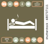smoking in bed icon | Shutterstock .eps vector #680737111